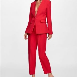 Zara Red Pant Suit Set (Blazer and Pants)